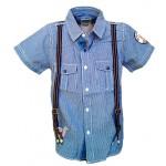 Marškiniai languoti su petnešomis nuo 114cm iki 162cm (Prancūzija)