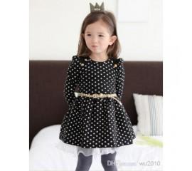 Suknelė juoda su baltais žirniukais nuo 90cm iki 120cm (Kinija)